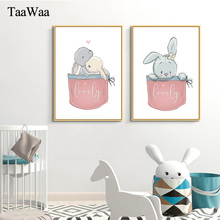 TAAWAA Kids Wall Art Rabbit Nursery Nordic Poster And Print Animal Canvas Painting Pictures Baby Girl Boy Room Decoration