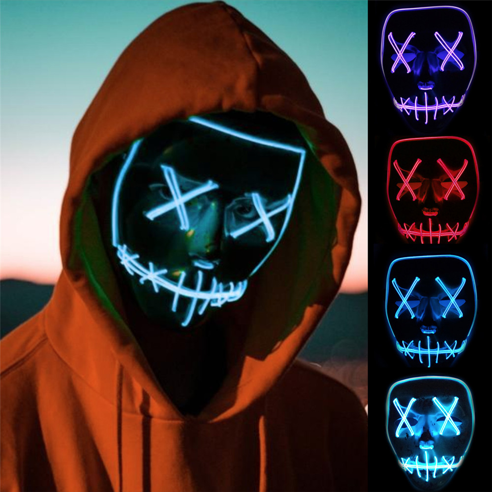 EL Wire Mask With Controller For Halloween Christmas Party Mask Neon Led Strips Light Skull  Flash Grimace Fluorescent Mask