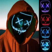 EL drutu maska z kontrolerem na Halloween boże narodzenie Party maska Neon taśmy led czaszka Flash grymas fluorescencyjna maska