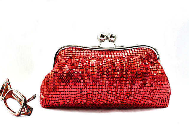 shinning small round sequins Handbag,Clutch Purse bride red bag,aluminium flake evening bags for party dinner silver gold