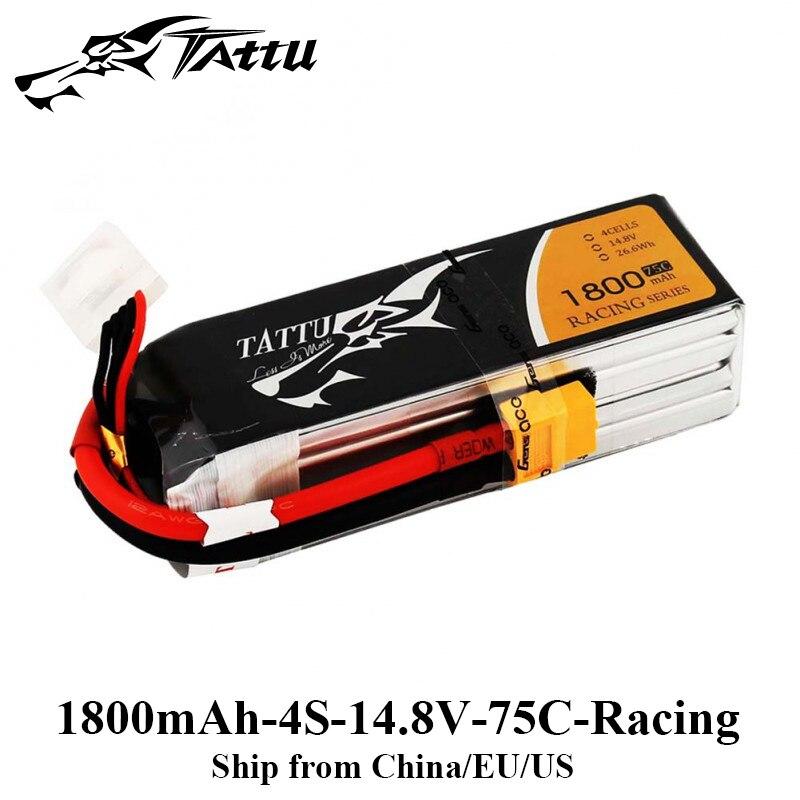 Tattu 1800mAh Lipo Battery 14.8V 75C Racing Battery 4S XT60 Plug for FPV Drone Racing Professinal Drone Frame RC Car цена и фото