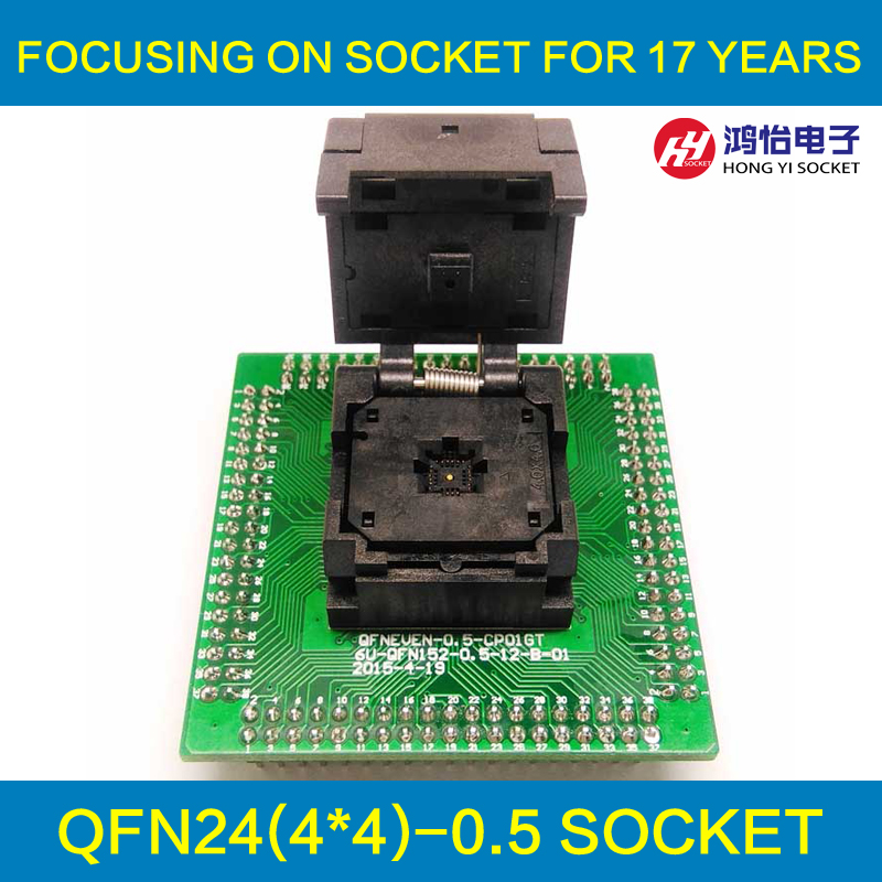 QFN24 MLF24 WLCSP24 to DIP24 Programming Socket Pin Pitch 0.5mm IC Body Size 4x4mm IC550-0244-015-G Test Socket Adapter qfn36 mlf36 wlcsp36 to dip36 programming socket adapter pin pitch 0 5mm ic body size 6x6mm ic550 0364 016 g test socket