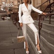 2a4dd8ca84 INDRESSME 2019 de moda cuello en V Sexy negocio pantalón trajes chaquetas  formales OL elegante Jag
