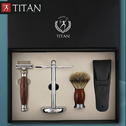 Титановая Безопасная бритва, двойная кромка, безопасный набор, нержавеющая сталь, классика, мужская, ручная бритва