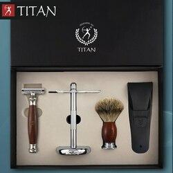 Titan rasoio di sicurezza double edge rasoio di sicurezza in acciaio inox set Degli Uomini di Modo Classico Rasoio Manuale