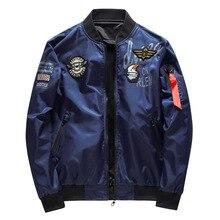 남성 폭격기 재킷 남자 육군 군사 파일럿 재킷 배지 자수 야구 재킷 양면 오토바이 코트 큰 크기 5XL 6XL