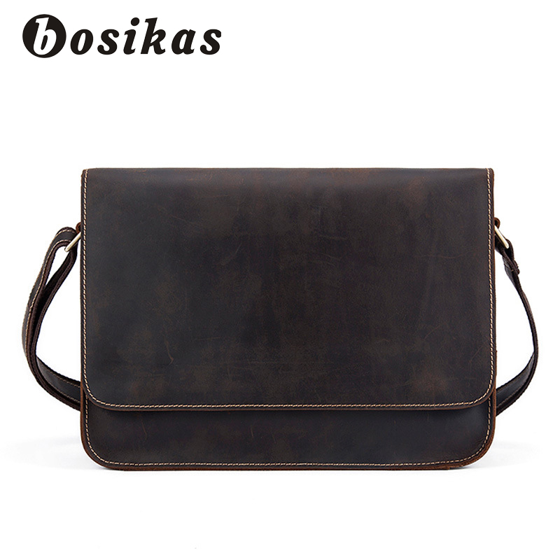 BOSIKAS Genuine Leather Bag Men Vintage leather Bags Messenger Bag Male Man Casual Tote Shoulder Crossbody bags Handbags Men 2017 genuine leather men bags men s crossbody bag new travel bag male messenger men bags leather casual shoulder handbag tote