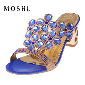 Sexy Women Sandals Summer Crystal Ladies High Heels Shoes Pumps Size 35-41 Black Blue Gold