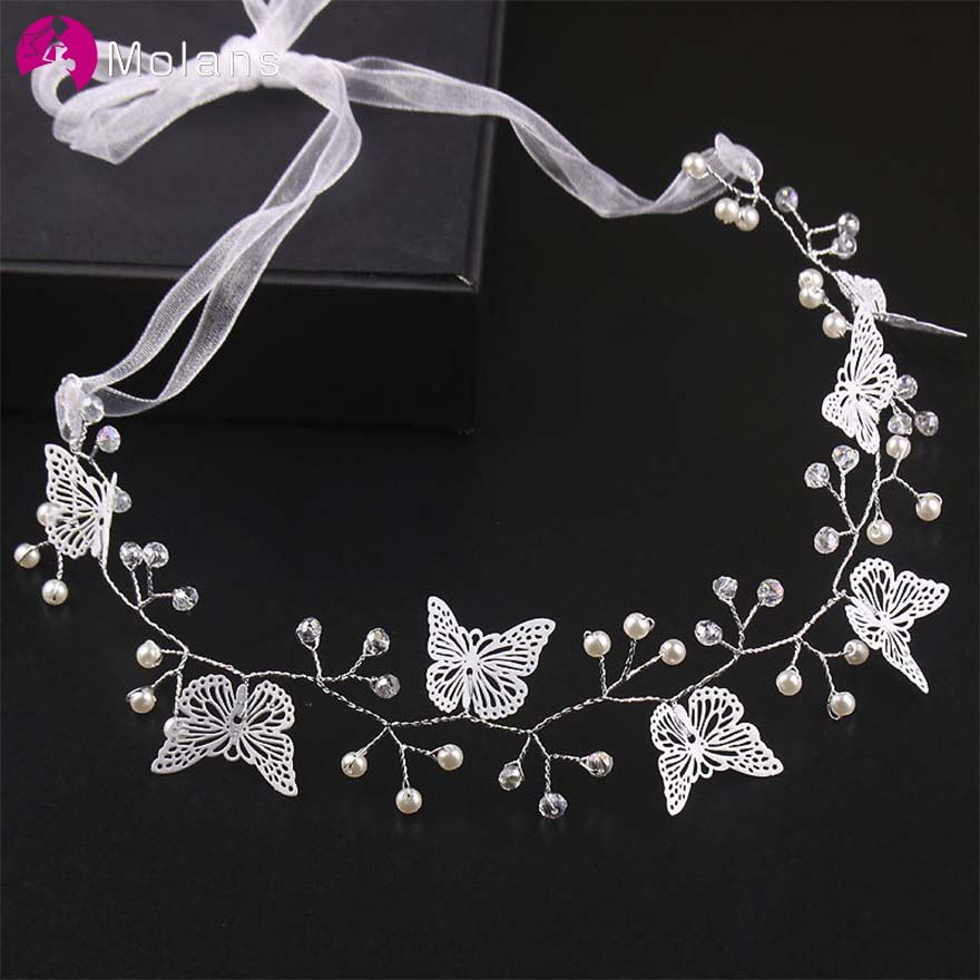 MOLANS Super Immortal Silver Butterfly Bridal Hair Accessories For Wedding Handicraft Alloy Beading With Silk Ribbons Headpiece