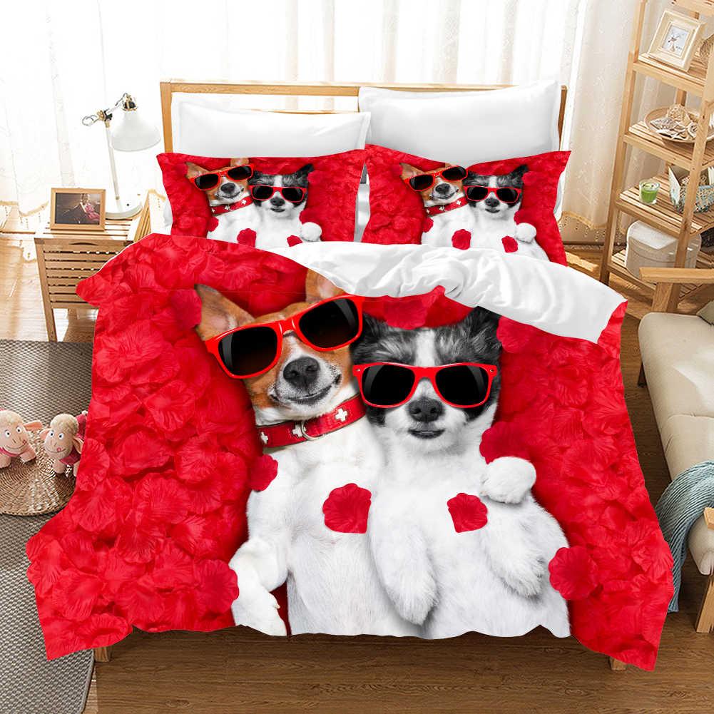 Cartoon animal 3d bedding set Duvet Covers Pillowcases Cat dog Children room decor comforter bedding sets bedclothes bed linen