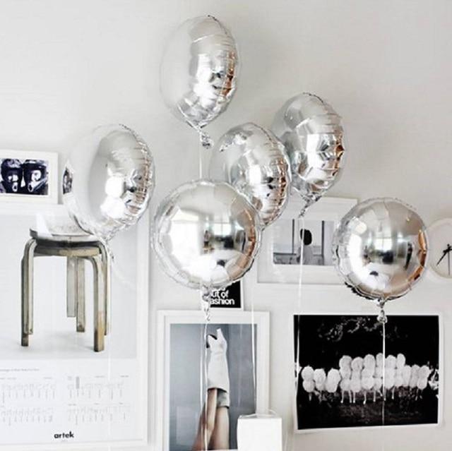 5 sztuk 18 złoty srebrny balon okrągły ślub balony z folii aluminiowej nadmuchiwane prezent balon urodziny strona dekoracji helu Ball
