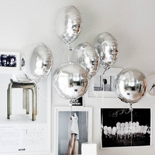 5pcs 18 Gold Silver Balloon Round Wedding aluminum Foil Balloons Inflatable gift Birthday baloon Party Decoration Helium Ball
