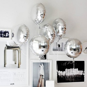 Image 1 - 5pcs 18 Gold Silver Balloon Round Wedding aluminum Foil Balloons Inflatable gift Birthday baloon Party Decoration Helium Ball
