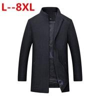 Плюс 8XL 6XL 5XL бренд однотонная одежда шерсть и смеси для мужчин куртки с длинными рукавами зимние элегантные Мужчин's пальт