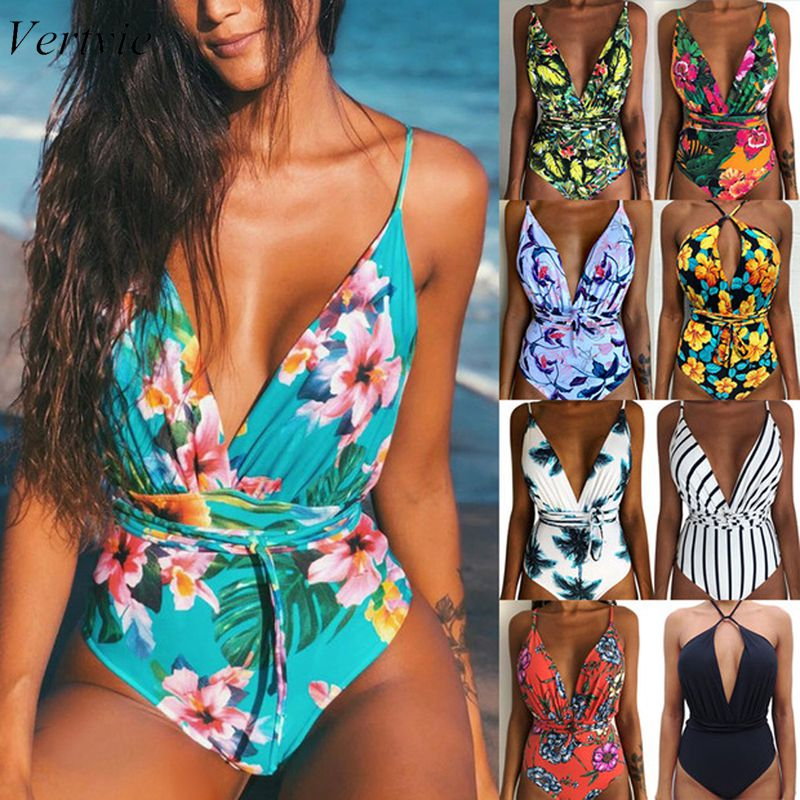 Vertvie <font><b>2019</b></font> New Women <font><b>Sexy</b></font> Print Brazilian <font><b>One</b></font> <font><b>Piece</b></font> <font><b>Swimsuit</b></font> Floral Retro Thong High Waist Bodysuit Backless High Cut Swimwear image