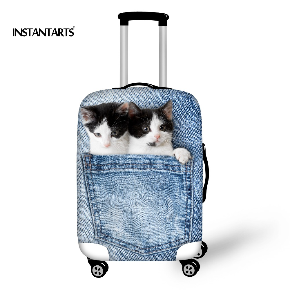 7c50de8bccdb INSTANTARTS Kawaii Cat Luggage Protective Covers Waterproof Elastic Travel  Accessories 3D Denim Pocket Printed Luggage Protector