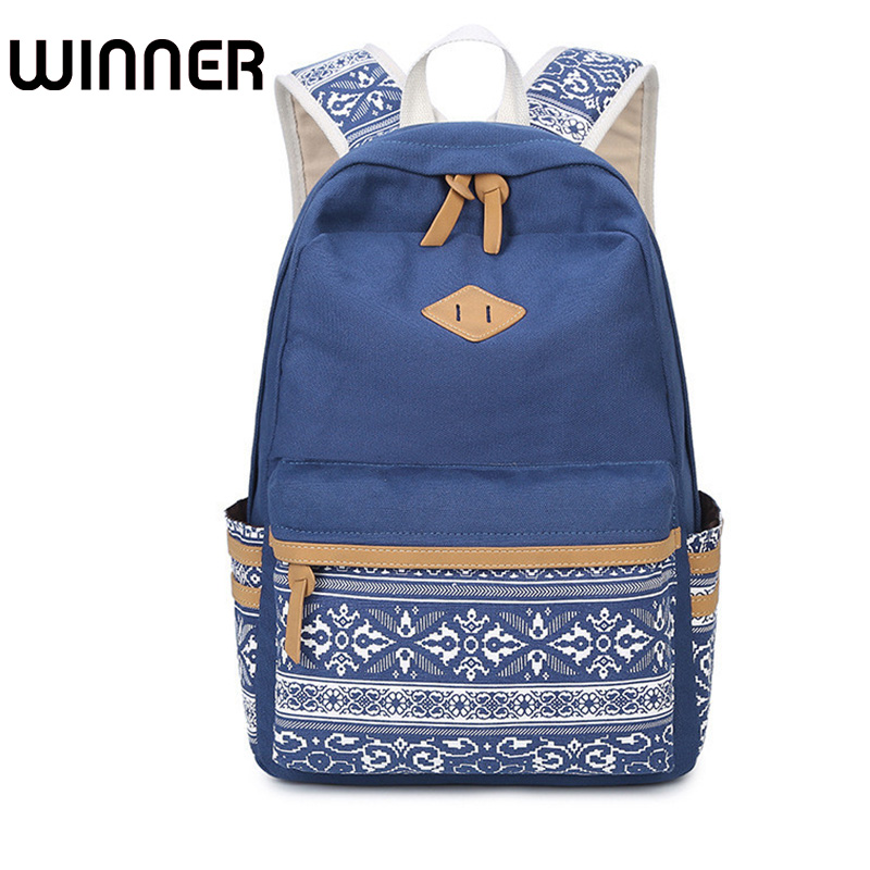 Brand Canvas Printing Large Capacity Laptop Backpack Women School Bags For Teenage Girls National Rucksack Female