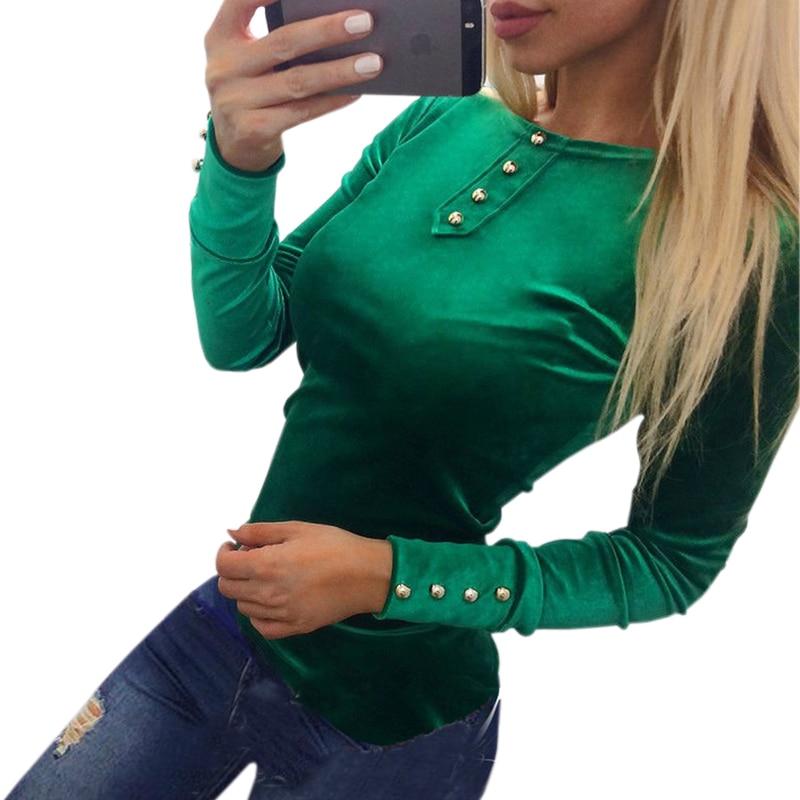 Newly  Velvet Blouses Shirts Women's Spring Autumn Shirts Tops Velvet Blusas Top Long Sleeve Solid Button Women Tops GV508