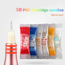 50pcs Cartridge needle 1R/D1R/3R/5R/5F/7F Disposable Sterilized Tattoo Permanent Makeup Needle Tips Spiral port for Eyebrow lip