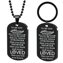 Family Son Necklaces Always Remember You Are Braver Stainless Steel Dog Tag Pendant Necklace Boys Kids Child Inspirational Gifts