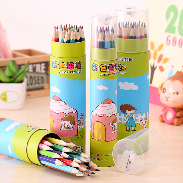 12 24 colors coloring book pencils colored pencils wooden writing painting drawing color pen pencil