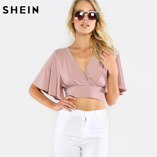 56c6d27e55315d SHEIN Deep V Neck Top Womens Tops and Blouses Purple Short Sleeve Slim  Cropped Top Plunging V-Neckline Bow Tie Back Blouse