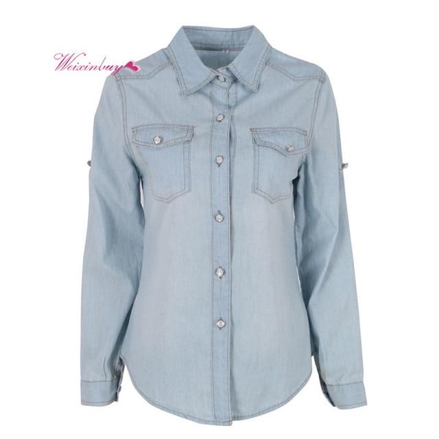 3725277679 Primavera Outono calça jeans mulher Mulheres Blusa Botão de Lapela Para  Baixo Azul Denim Jean Camisa