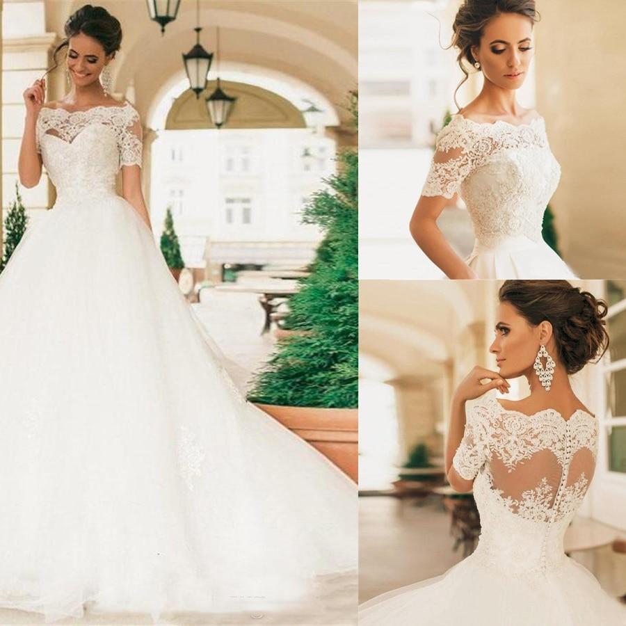 Sheer Bateau Neck Lace Appliqued Pearls Vintage Lace Bridal Gowns Short Sleeves Wedding Dresses Vestido De Novia Robe De Mariage