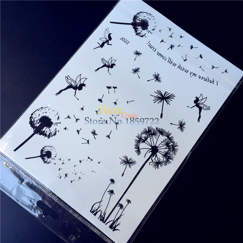 25 Style Popular Waterproof Black Henna Tattoo Fake Dandelion Flower Fairy Tatoo Women Body Art Temporary Tattoo Stickers HBJ022