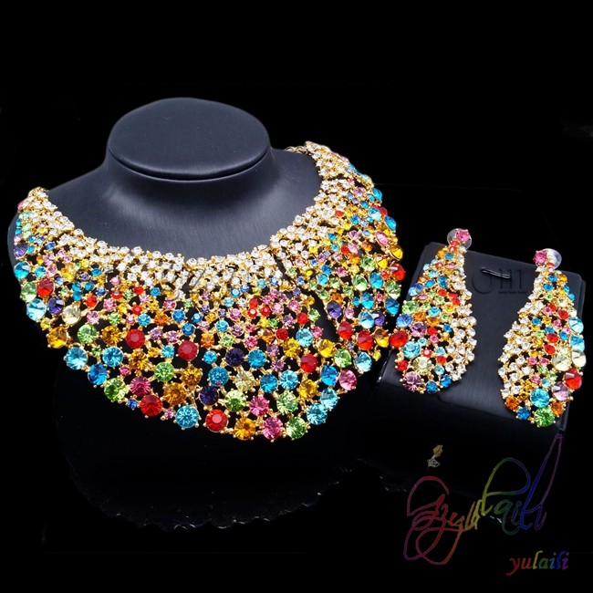 YULAILI Free Shipping Top Quality Classical Design Crystal Zinc Alloy Necklace&Earrings Jewelry Set with Colorful StoneYULAILI Free Shipping Top Quality Classical Design Crystal Zinc Alloy Necklace&Earrings Jewelry Set with Colorful Stone