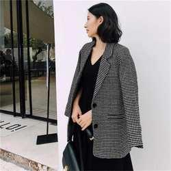 Плед блейзеры маленький костюм женский пиджак новый высокого качества с длинным рукавом Повседневная темперамент длинные ретро костюм в