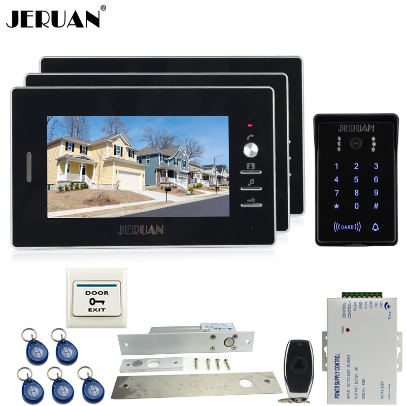 JERUAN 7`` video door phone intercom Entry system Kit 3 monitor RFID waterproof touch key password keypad access camera+power jeruan new 7 inch touch key color video intercom entry door phone system rfid access doorbell camera 1 monitor in stock
