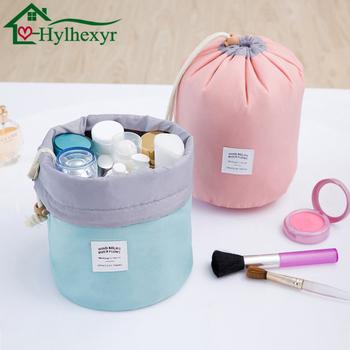 2018 moda damska wysoka pojemność nylon Travel Barrel kształt kosmetyczka kosmetyczne torby makijaż umyć Baging makijaż łazienka Organizator tanie i dobre opinie Hylhexyr Nylon + bawełna Organizator w gospodarstwie domowym organizator łazienki 1 * kosmetyczka Torba do przechowywania makijażu