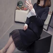 Milinsus Autumn Winter 2019 New Elegant Plain Black Dress Knitted Chiffon Splice Plus Size Medium Length Women Sweaters Dresses