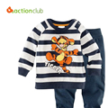 2015 New Kids Pajamas Baby Boys Autumn Cartoon Suits Cartoon Girls Striped Sweatshirt +trousers kids Casual Clothing Sets KS406