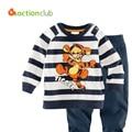 2015 New Kids Pajamas Baby Boys Autumn Cartoon Suits Cartoon Girls Striped Sweatshirt +trousers kids Casual Clothing Sets KS406