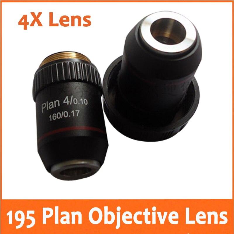 4X L=195 Plan Achromatic Bio Microscope Biological Microscope Objective Lens with Thread Diameter 20.2MM for School Laboratory