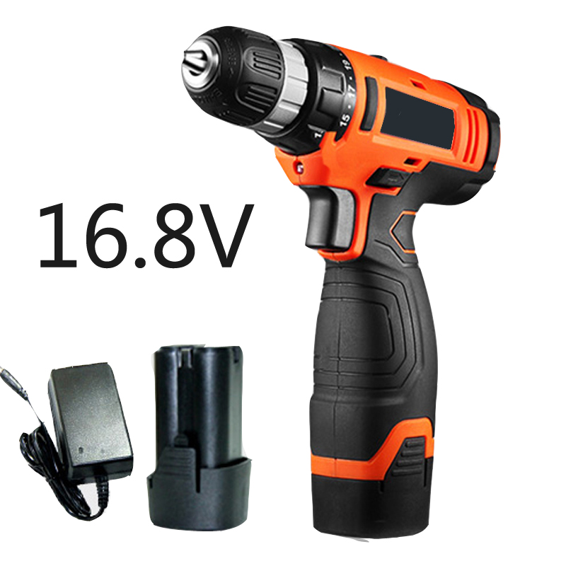 16.8V electric drill Lithium Cordless Drill Household drill screwdriver multi-function electric hammer drill Power Tools cukyi household electric multi function cooker 220v stainless steel colorful stew cook steam machine 5 in 1