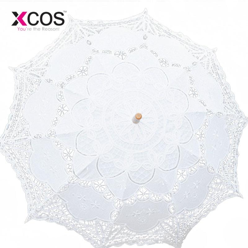 Free Shipping Lace Manual Opening Wedding Umbrella Bridal Parasol Umbrella Accessories For Wedding Bridal Shower Umbrella SA853