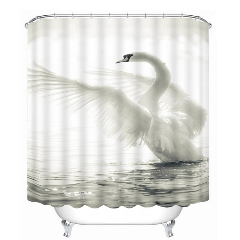 3D Butterfly Swan Pattern Shower Curtains Nature Animal Bathroom Curtain Waterproof Thickened Bath Customizable In From Home