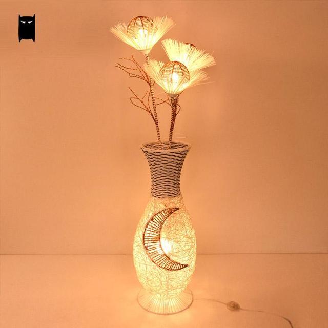 En Osier Rotin Ikebana Abat Jour Luminaire Lampe Sur Pied Chinois
