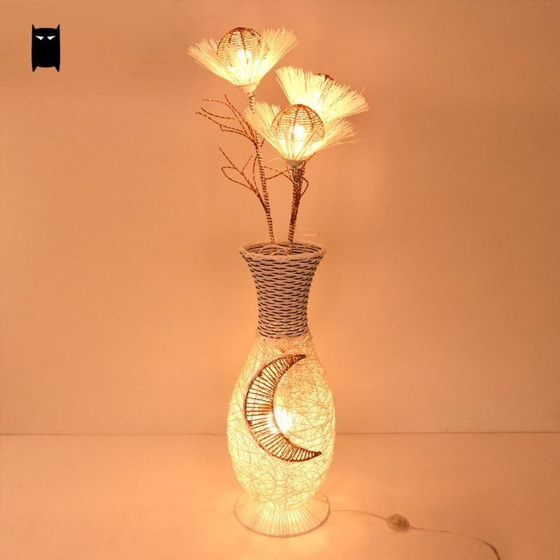 Wicker Rattan Ikebana Lampshade Floor Lamp Fixture Chinese Japanese Style Night Stand Light Luminaria Foyer Living Room Custom
