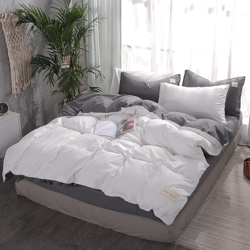 bedding solid simple bedding set Modern duvet cover set king queen full twin bed linen brief bed flat sheet set flat 2019