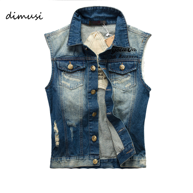 59aa34401c6 DIMUSI Summer Mens Denim Vest Vintage Sleeveless washed jeans waistcoat Man  Cowboy ripped HIp Hop Jacket Plus Size 5XL