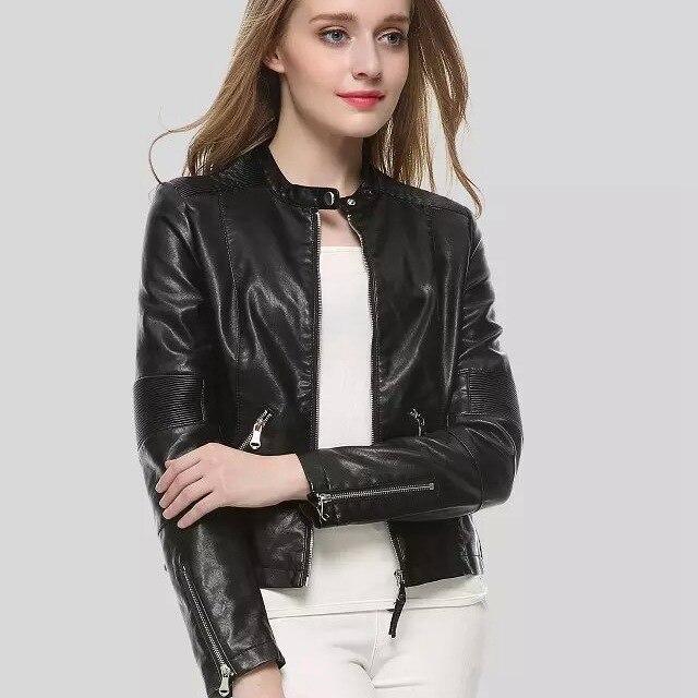 € 41.35 |Blouson Cuir noir Femme Moto Verde Bomber simili Cuir Zip manteaux ceinture Chaqueta Blazer Jack Jaqueta Couro Blouson Cuir Femme in En cuir