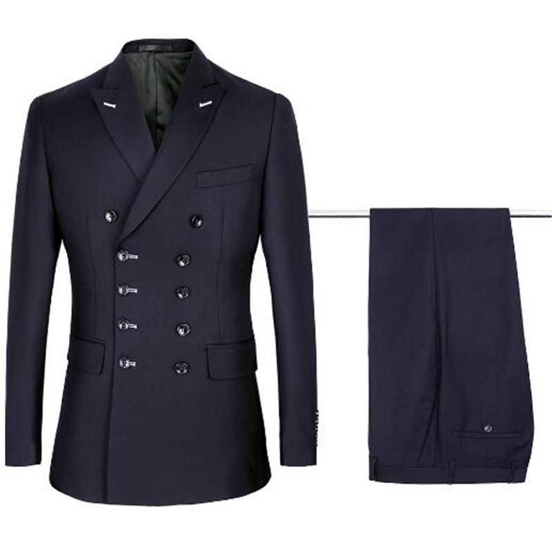 2018 new fashion double row deep blue men's professional business casual suit + trousers pure color men's suit