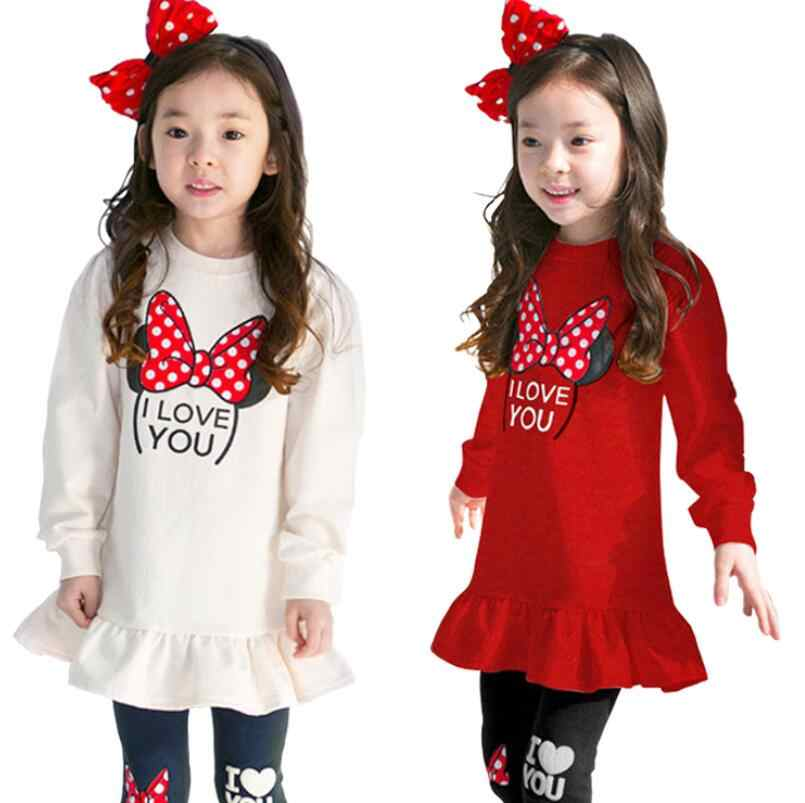 New Children Clothing Sets Costumes For Kids Sport Suits Girls Clothes Sets girls Dress+pants Cartoon Baby Girls Clothes