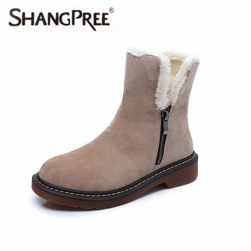 Plus size 35-43 Women Fashion Autumn Winter Snow Boots Genuine Leather Suede Women Comfortabl Snow Boots plush warm Female Shoes