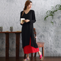 Winter Linen Dress Chinese Style Women Autumn Loose Dress Patchwork Two Pieces Soft Swing Dress Long