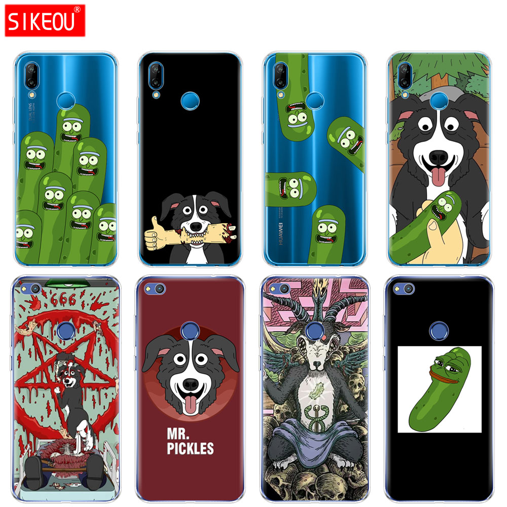 Silicone Cover Phone Case For Huawei P20 P7 P8 P9 P10 Lite Plus Pro 2017 p smart 2018 mr pickles cucumber rick meme image